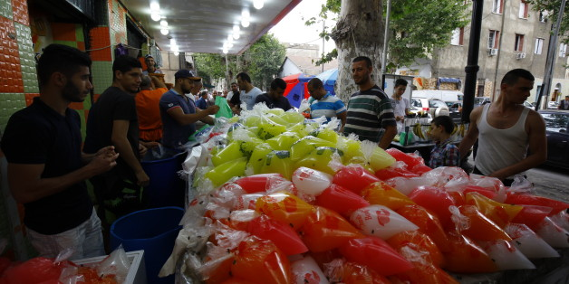 artisanal preparation of Cherbet, kind of lemonade very popular with Algerians during Ramadan. Here preparation and sale in a souk. Boufarik (Algeria) on 6/11/2016 (Photo by Billal Bensalem/NurPhoto via Getty Images)