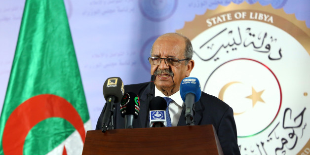 Algeria's Minister Delegate for Maghreb and African Affairs, Abdelkader Messahel, speaks during a press conference after meeting with Libyan Prime Minister Fayez al-Sarraj (unseen) in the Libyan capital Tripoli on April 21, 2017. / AFP PHOTO / MAHMUD TURKIA        (Photo credit should read MAHMUD TURKIA/AFP/Getty Images)