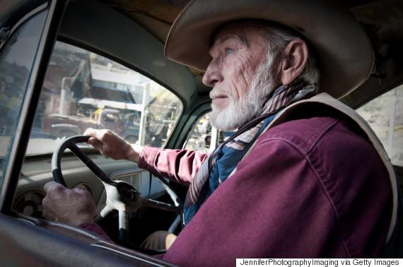 man beard pickup truck