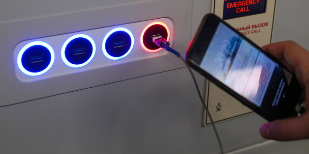 MOSCOW, RUSSIA - FEBRUARY 21, 2017: USB-ports for charging mobile devices and gadgets in a car of the next generation Moskva subway train during a test run on the Tagansko-Krasnopresnenskaya Line of the Moscow Metro. The Moskva trains are to replace the outdated EZH-3 and EM508T trains. Valery Sharifulin/TASS (Photo by Valery Sharifulin\TASS via Getty Images)