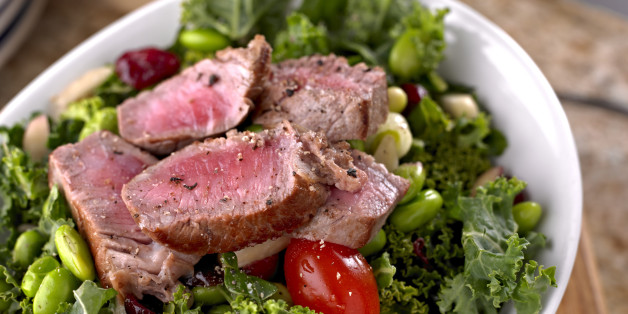 'Fresh Salad with Bean ,Kale and Roasted Steak.Shot with Hasselblad.'