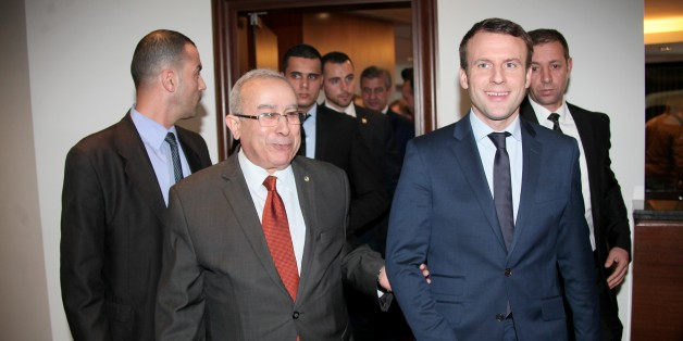 ALGIERS, ALGERIA - JANUARY 24: French presidential candidate, Emmanuel Macron (front R) meets with Algerian Foreign Affairs Minister Ramtane Lamamra (front L) in Algiers, Algeria on February 13, 2017. (Photo by Bechir Ramzy/Anadolu Agency/Getty Images)