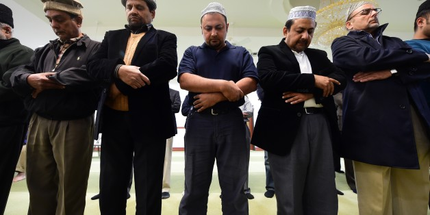 Muslims from the Ahmadiyya Muslim Community pray at the Baitul Hameed Mosque in Chino, California on December 3, 2015, where people attended a prayer vigil to commemorate lives lost a day after the tragedy in San Bernardino.  AFP PHOTO/ FREDERIC J. BROWN / AFP / FREDERIC J. BROWN        (Photo credit should read FREDERIC J. BROWN/AFP/Getty Images)