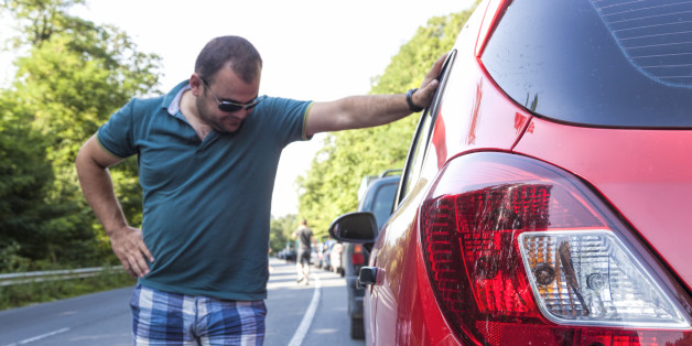 Man having a traffic nightmare on his return from vacation