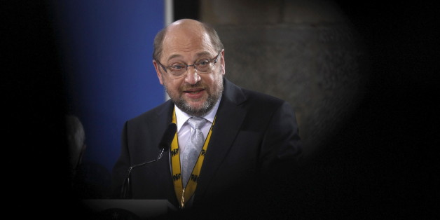 """European Parliament President Martin Schulz delivers a speech after receiving the Charlemagne Prize 2015 in Aachen, Germany May 14, 2015. Schulz was awarded with the """"Karlspreis"""" for merits that he has contributed towards steadily stabilizing the euro currency union and to overall European unity.  REUTERS/Ina Fassbender"""
