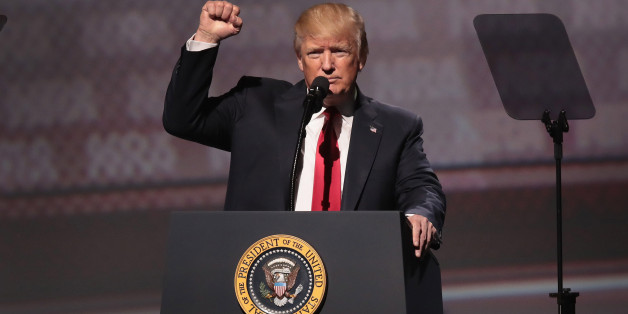ATLANTA, GA - APRIL 28:  President Donald Trump speaks at the NRA-ILA's Leadership Forum at the 146th NRA Annual Meetings & Exhibits on April 28, 2017 in Atlanta, Georgia. The convention is the largest annual gathering for the NRA's more than 5 million members. Trump is the first president to address the annual meetings since Ronald Reagan.  (Photo by Scott Olson/Getty Images)