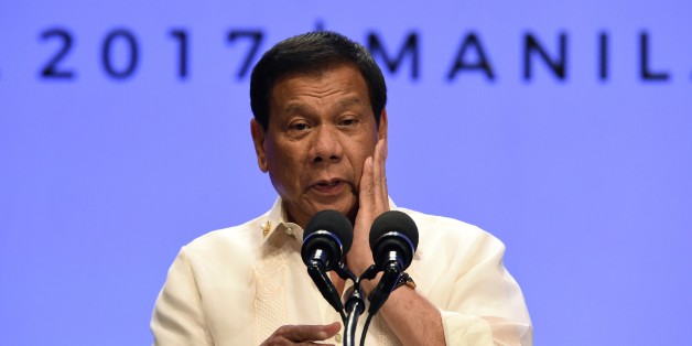 Philippines' President Rodrigo Duterte speaks during a press conference at the end of Association of Souteast Asian Nations (ASEAN) leaders' summit in Manila on April 29, 2017. Duterte warned Southeast Asian leaders on April 29 they were facing a 'massive' illegal drug menace that could destroy their societies, as he called for a united response. / AFP PHOTO / Ted ALJIBE        (Photo credit should read TED ALJIBE/AFP/Getty Images)