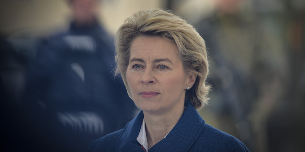 MURNAU, GERMANY - MARCH 09: German Defence Minister Ursula von der Leyen is seen during a demonstration as part of the GETEX anti-terror exercises during a media event on March 9, 2017 in Murnau, Germany. GETEX, short for the Joint Terrorism Defense Exercise, is taking place across Germany to simulate the joint operations capabilities between German law enforcement agencies and the Bundeswehr, Germany's armed forces, in battling larger-scale terror threats. (Photo by Philipp Guelland/Getty Images)