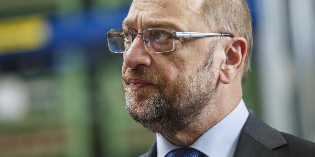 KIEL, GERMANY - APRIL 25: Martin Schulz, lead chancellor candidate of the German Social Democrats (SPD), visits the EDUR-pump factory while campaigning for the SPD in state elections in Schleswig-Holstein on April 25, 2017 in Eckernfoerde, Germany. Schleswig-Holstein will hold state elections on May 7 and so far the SPD has a narrow lead over the German Christian Democrats (CDU). Meanwhile the right-wing populist Alternative for Germany (AfD) has slipped to the 5% mark in polls, the minimum requirement for winning seats in the state parliament. Germany faces federal elections in September. (Photo by Morris MacMatzen/Getty Images)