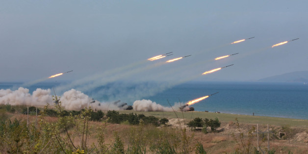 A military drill marking the 85th anniversary of the establishment of the Korean People's Army (KPA) is seen in this handout photo by North Korea's Korean Central News Agency (KCNA) made available on April 26, 2017. KCNA/Handout via REUTERS      ATTENTION EDITORS - THIS IMAGE WAS PROVIDED BY A THIRD PARTY. EDITORIAL USE ONLY. REUTERS IS UNABLE TO INDEPENDENTLY VERIFY THIS IMAGE. NO THIRD PARTY SALES. SOUTH KOREA OUT.