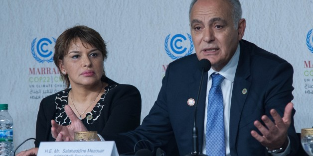MARRAKECH, MOROCCO - NOVEMBER 18: Morocco's Foreign Minister and the head of COP22 Salaheddine Mezouar (R) attends a session during the UN Climate Change Conference in Marrakech, Morocco on November 18, 2016.  (Photo by Jalal Morchidi/Anadolu Agency/Getty Images)