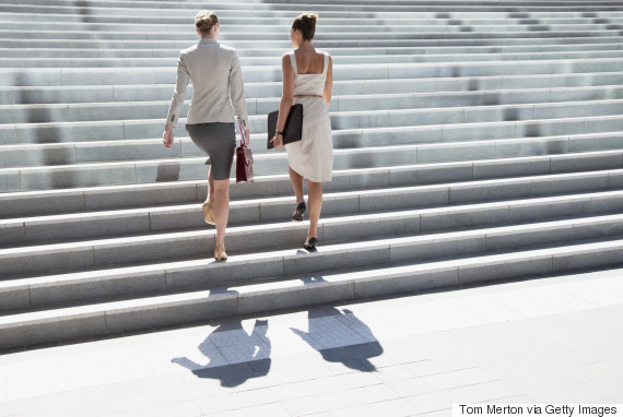 women and stairs