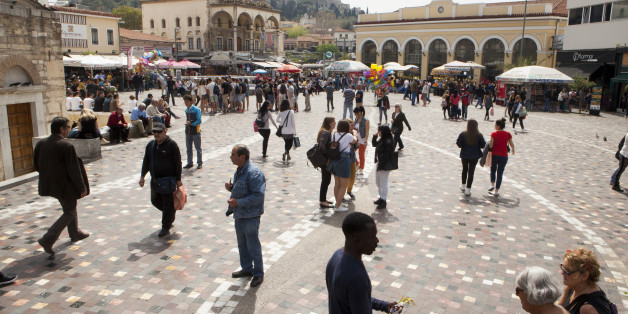 ATHENS, GREECE - APRIL 7: People enjoy Monastiraki Square in the heart of downtown, on April 7, 2016 in Athens, Greece. This spring, the streets are filled with tourists. As it recovers from the financial crisis, Athens is experiencing a cultural rebirth. (Photo by Melanie Stetson Freeman/The Christian Science Monitor via Getty Images)