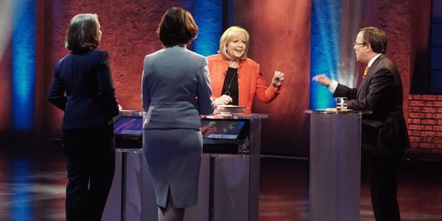 Die NRW-Ministerpräsidentin Hannelore Kraft und ihr Herausforderer Armin Laschet beim gestrigen TV-Duell