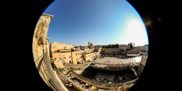 JERUSALEM, ISRAEL - OCTOBER 26: (EDITORS NOTE: A fisheye lens was used for this photo) A general view of the Dome of the Rock shrine, the Al-Aqsa Mosque and the Western Wall on October 26, 2016 in Jerusalem, Israel. On October 18th, 2016 Unesco passed a controversial resolution against Israel's 'occupation of Al-Aqsa Mosque/Al-Haram Al-Sharif, and Jerusalem's Old City.  (Photo by Franco Origlia/Getty Images)