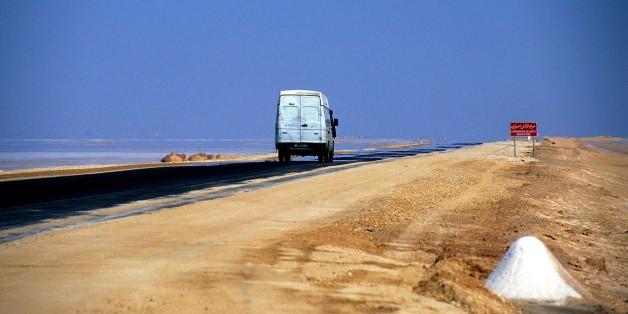 Chott el-djerid road , Tozeur, Tunisia. (Photo by: Godong/UIG via Getty Images)
