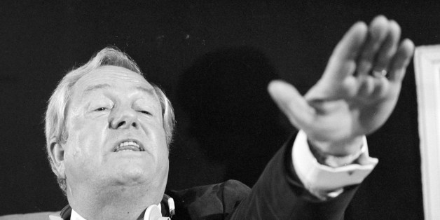 (Archive) A picture taken on January 13, 1985 shows French leader of the extreme right party 'Front national' (National Front) Jean-Marie Le Pen gesturing during a press conference at the Strasbourg European Parliament. AFP PHOTO JEAN-CLAUDE DELMAS        (Photo credit should read JEAN-CLAUDE DELMAS/AFP/Getty Images)