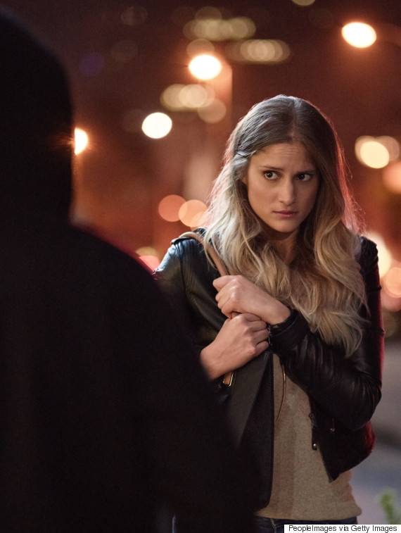 nervous woman night street
