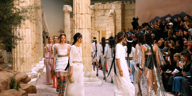 PARIS, FRANCE - MAY 03:  Models walk the runway during the Chanel Cruise 2017/2018 Collection Show at Grand Palais on May 3, 2017 in Paris, France.  (Photo by Bertrand Rindoff Petroff/Getty Images)