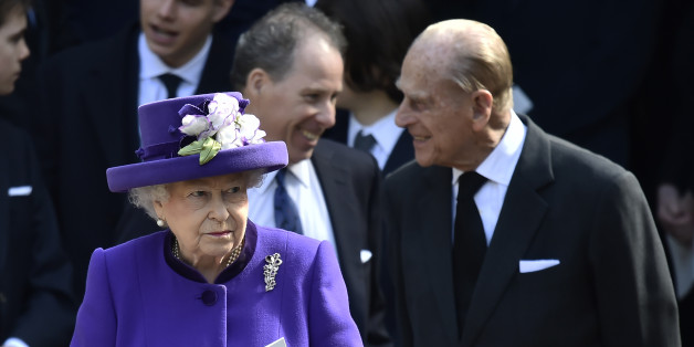 Britain's Queen Elizabeth and Prince Philip leave a Service of Thanksgiving for the life and work of Lord Snowdon at Westminster Abbey in London, Britain, April 7, 2017. REUTERS/Hannah McKay