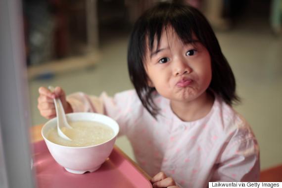 kid and sad and breakfast