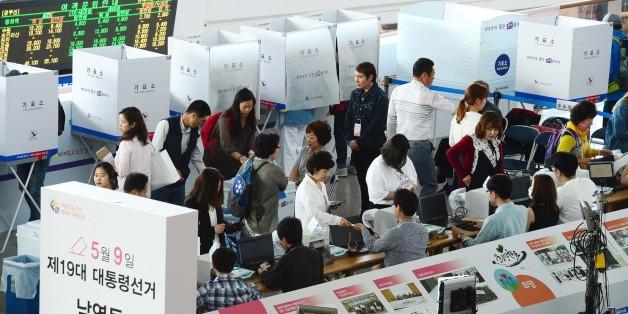 5일 아침 서울역 사전투표소 모습