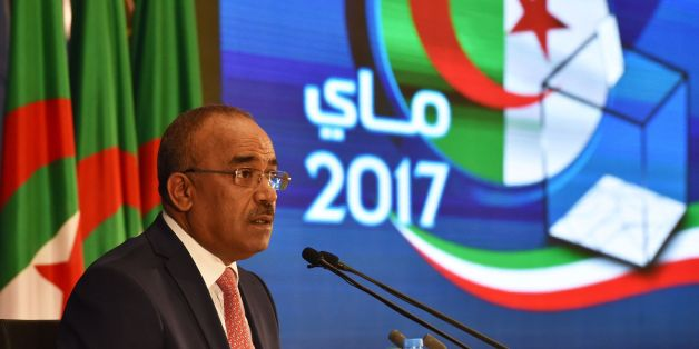 Algerian Interior and Territorial Collectivities Minister Noureddine Bedoui announces the results of the country's legislative elections in Algiers on May 5, 2017. The party of Algerian President Abdelaziz Bouteflika and its coalition ally have won a clear majority of the seats in parliament, results released by the interior ministry showed. / AFP PHOTO / RYAD KRAMDI / RYAD KRAMDI        (Photo credit should read RYAD KRAMDI/AFP/Getty Images)