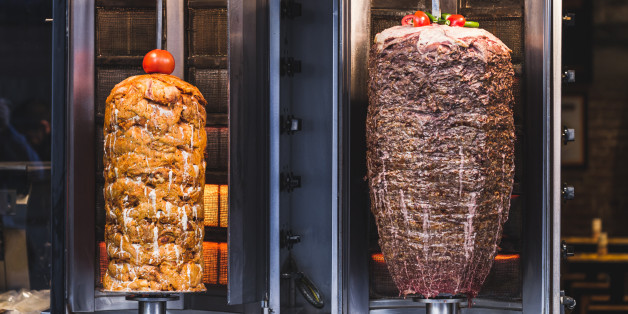Bbq meat for turkish doner kebab in a restaurant in istanbul. Asian street food