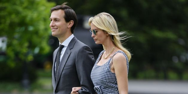 Jared Kushner and Ivanka Trump make their way across the South Lawn to board Marine One at the White House in Washington, DC on May 4, 2017. The two are travelling with US President Donald Trump to New York, NY. / AFP PHOTO / MANDEL NGAN        (Photo credit should read MANDEL NGAN/AFP/Getty Images)