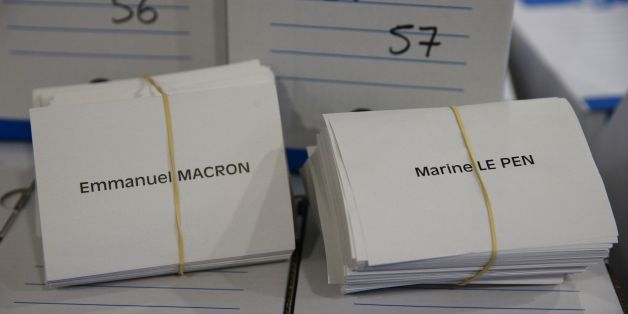 A photo taken on May 6, 2017 shows ballot papers with the names of the two presidential candidates at the City Hall in Montreuil, outside Paris, as preparations are made one day before Sunday's presidential election run-off. / AFP PHOTO / GEOFFROY VAN DER HASSELT        (Photo credit should read GEOFFROY VAN DER HASSELT/AFP/Getty Images)