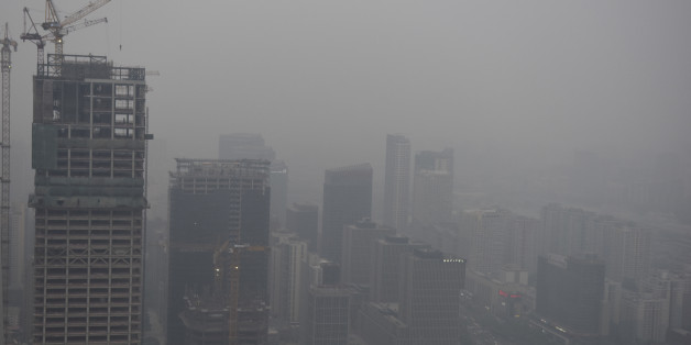 BEIJING, CHINA - APRIL 16: A general view of the centre of Beijing with a heavy cloud of pollution over the city on April 16, 2017 in Beijing, China (Ian Hitchcock/Getty Images)