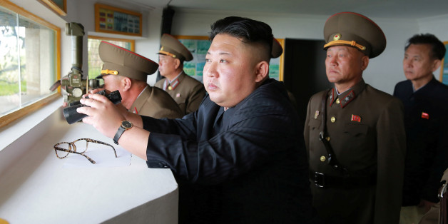 North Korean leader Kim Jong Un inspects the defence detachment on Jangjae Islet and the Hero Defence Detachment on Mu Islet located in the southernmost part of the waters off the southwest front, in this undated photo released by North Korea's Korean Central News Agency (KCNA) on May 5, 2017. KCNA/ via REUTERSATTENTION EDITORS - THIS PICTURE WAS PROVIDED BY A THIRD PARTY. REUTERS IS UNABLE TO INDEPENDENTLY VERIFY THE AUTHENTICITY, CONTENT, LOCATION OR DATE OF THIS IMAGE. FOR EDITORIAL USE ONLY.