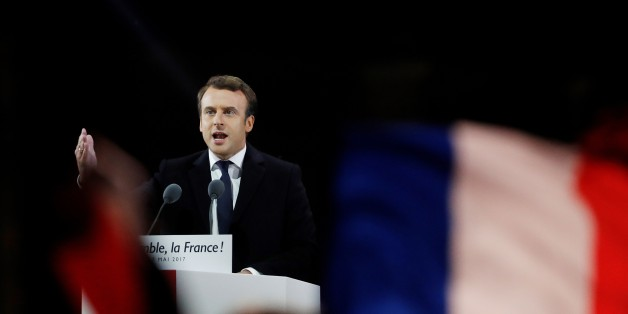 French president-elect Emmanuel Macron delivers a speech at the Pyramid at the Louvre Museum in Paris on May 7, 2017, after the second round of the French presidential election. Emmanuel Macron was elected French president on May 7, 2017 in a resounding victory over far-right Front National (FN - National Front) rival after a deeply divisive campaign, initial estimates showed. / AFP PHOTO / Patrick KOVARIK        (Photo credit should read PATRICK KOVARIK/AFP/Getty Images)