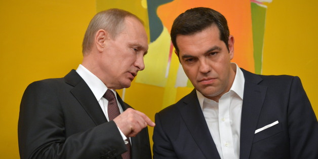 ATHENS, GREECE - MAY 27, 2016: Russia's President Vladimir Putin (L) and Greece's Prime Minister Alexis Tsipras at a joint documents signing ceremony following Russian-Greek talks. Alexei Druzhinin/Russian Presidential Press and Information Office/TASS (Photo by Alexei Druzhinin\TASS via Getty Images)