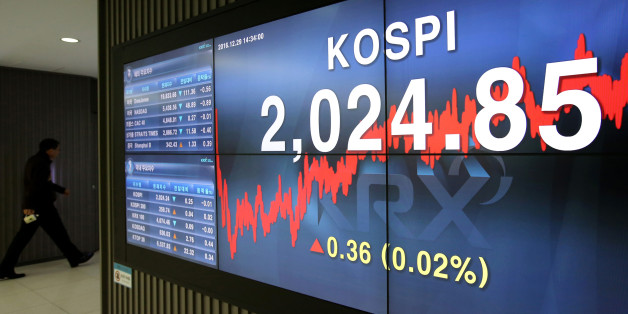 The Korea Composite Stock Price Index (Kospi) figure is displayed on a screen at the Korea Exchange (KRX) in Seoul, South Korea, on Thursday, Dec. 29, 2016. South Korea's Kospi gained 0.1 percent at closing, erasing earlier losses. Photographer: SeongJoon Cho/Bloomberg via Getty Images