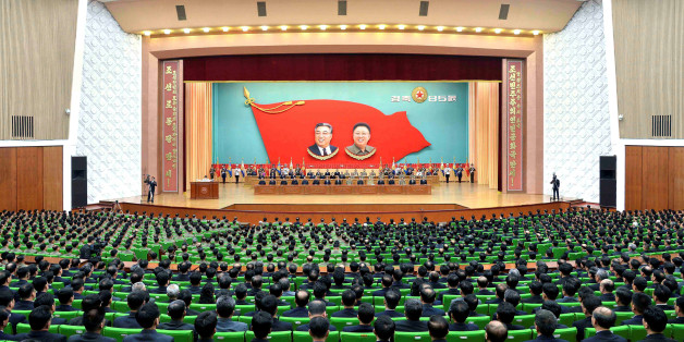 An overview of a national meeting at the People's Palace of Culture in Pyongyang on April 24, 2017 in celebration of the 85th founding anniversary of the Korean People's Army (KPA) in this handout photo by North Korea's Korean Central News Agency (KCNA) made available on April 25, 2017. KCNA/Handout via REUTERS      ATTENTION EDITORS - THIS IMAGE WAS PROVIDED BY A THIRD PARTY. EDITORIAL USE ONLY. REUTERS IS UNABLE TO INDEPENDENTLY VERIFY THIS IMAGE. NO THIRD PARTY SALES. SOUTH KOREA OUT.