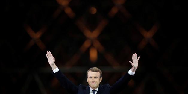 Emmanuel Macron glücklich über seinen Sieg