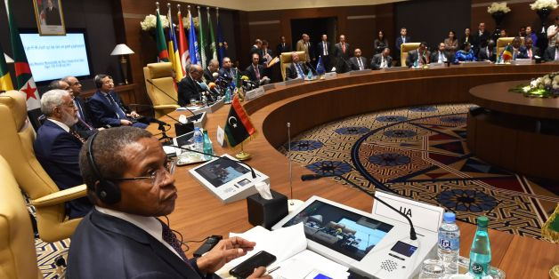 A picture taken on May 8, 2017, shows a general view of a meeting of Libya's neighbouring countries, in the Algerian capital Algiers. / AFP PHOTO / RYAD KRAMDI / RYAD KRAMDI        (Photo credit should read RYAD KRAMDI/AFP/Getty Images)