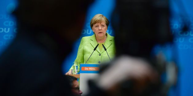 German Chancellor Angela Merkel gives a press conference in Berlin on May 8, 2017, one day after regional elections in the northern state of Schleswig-Holstein. Merkel's conservatives secured a strong win in state polls in northern Germany, giving a boost to her bid to retain power in national elections in September. / AFP PHOTO / John MACDOUGALL        (Photo credit should read JOHN MACDOUGALL/AFP/Getty Images)