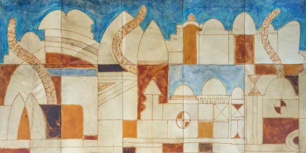 """Farid Belkahia, """"Jérusalem"""" , 1994 , Pigments sur peau. Signée, titrée et datée en bas à droite, l'oeuvre sera présentée à Casablanca lors de la vente aux enchères organisée par laMarocaine des Arts."""