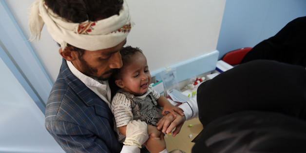 A Yemeni child suspected of being infected with cholera receives treatment at a hospital in Sanaa on May 6, 2017.At least 570 suspected cases of cholera have surfaced in war-torn Yemen in the past three weeks, sparking fears of a potential epidemic, Doctors Without Borders said. Healthcare has dramatically deteriorated in Yemen as conflict between Iran-backed rebels and the Saudi-supported government continues to escalate, leaving hospitals destroyed and millions struggling to find access to foo