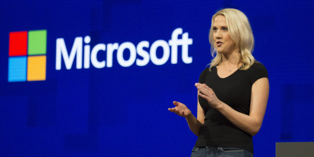 Andrea Carl, director of commercial communications at Microsoft Corp., speaks during Microsoft Developers Build Conference in Seattle, Washington, U.S., on Wednesday, May 10, 2017. Microsoft said it will focus investments on Azure cloud services meant for the Internet of Things, in which multiple sensors and smaller computing devices track data that can be analyzed by the company's cloud and artificial intelligence tools. Photographer: David Ryder/Bloomberg via Getty Images