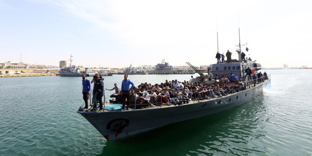 Illegal immigrants, who were rescued by the Libyan coastguard in the Mediterranean off the Libyan coast, arrive at a naval base in the capital Tripoli on May 10, 2017. / AFP PHOTO / MAHMUD TURKIA        (Photo credit should read MAHMUD TURKIA/AFP/Getty Images)