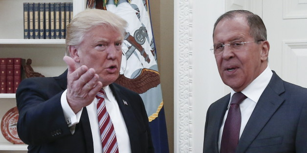 WASHINGTON, D.C., USA - MAY 10, 2017: President Donald Trump (L) of the United States and Russia's Foreign Minister Sergei Lavrov meet for talks in the Oval Office at the White House. Alexander Shcherbak/TASS (Photo by Alexander Shcherbak\TASS via Getty Images)