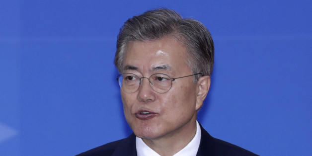 Moon Jae-in, South Korea's president, speaks during the presidential inauguration at the National Assembly in Seoul, South Korea, on Wednesday, May 10, 2017. Moon pledged to push for peace with North Korea and get tough on South Korea's biggest companies in his first remarks as president after a resounding election win. Photographer: Lee Young-ho/Pool via Bloomberg
