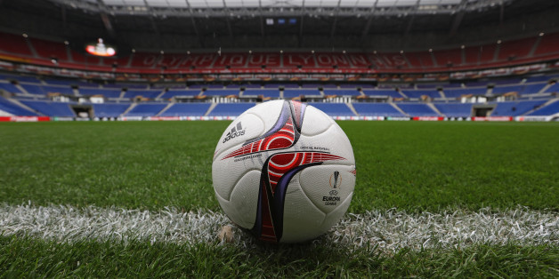 LYON, FRANCE - MAY 11: A Match ball on the pitch prior to the Uefa Europa League, semi final second leg match, between Olympique Lyonnais Lyon and Ajax Amsterdam at Parc Olympique on May 11, 2017 in Lyon, France.  (Photo by Steve Bardens - UEFA/UEFA via Getty Images)