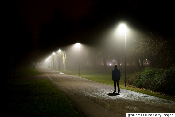 walking along a dark path