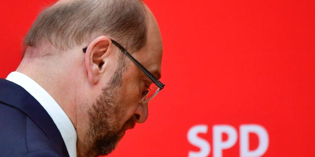 Social Democratic Party (SPD) leader Martin Schulz walks off the stage after addressing a press conference at the headquarters of the SPD in Berlin on May 15, 2017, one day after regional elections in the West German state of North Rhine-Westphalia. The SPD sank to its worst ever result in the western state with only 30.5 percent, sharply down from the 39.1 percent it obtained in 2012. / AFP PHOTO / John MACDOUGALL        (Photo credit should read JOHN MACDOUGALL/AFP/Getty Images)