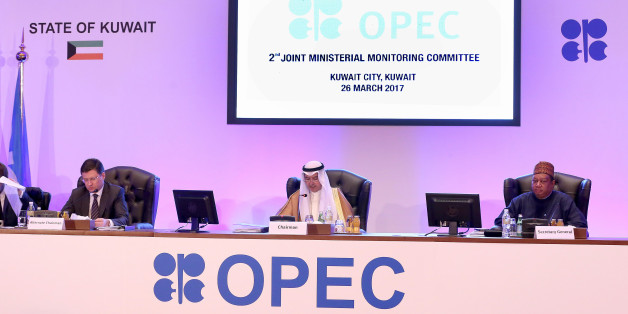 (L to R) Russian Energy Minister Alexander Novak, Kuwait's Oil Minister Essam al-Marzouq and OPEC secretary general Mohammad Sanusi Barkindo attend a meeting for the 2nd Joint Ministerial Monitoring Committee of OPEC, in Kuwait City, on March 26, 2017. / AFP PHOTO / Yasser Al-Zayyat        (Photo credit should read YASSER AL-ZAYYAT/AFP/Getty Images)