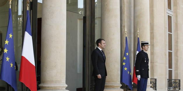 French President Emmanuel Macron waits for United Nations (UN) Secretary General prior to their meeting at the Elysee presidential Palace in Paris, on May 16, 2017. / AFP PHOTO / POOL / YOAN VALAT        (Photo credit should read YOAN VALAT/AFP/Getty Images)